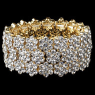 Gold Floral Crystal Stretch Wedding Bracelet