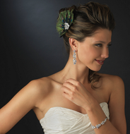 Glamorous CZ Drop Bridal Earrings and Coordinating Bracelet Set