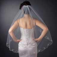 Scalloped Beaded Floral Embroidery Fingertip Wedding Veil