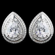 Silver Plated Teardrop CZ Stud Wedding Earrings