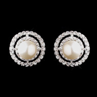Diamond White Pearl and CZ Wedding Stud Earrings