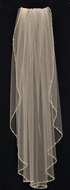 Pearl and Crystal Beaded Fingertip Length Wedding Veil