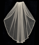 Pearl and Crystal Beaded Long Elbow Length Wedding Veil