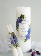 Floral Vintage Hydrangea Personalized Wedding Unity Candle Set