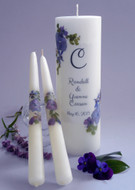 Violet Bouquet Personalized Wedding Unity Candle Set