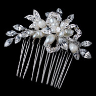 Silver Freshwater Pearl and Rhinestone Wedding Comb
