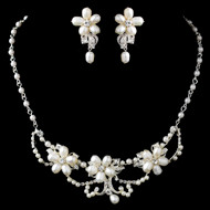 Freshwater Pearl and Rhinestone Bridal Jewelry Set