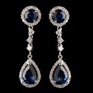 Sapphire CZ Rhodium Plated Formal and Wedding Earrings