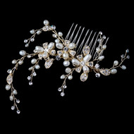 Gold Freshwater Pearl and Rhinestone Vine Wedding Comb