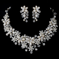 Freshwater Pearl and Crystal Bead Floral Vine Wedding Jewelry Set