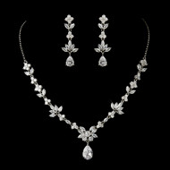 Floral CZ Crystal Wedding Jewelry Set ne1287