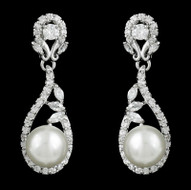 CZ and Pearl Drop Wedding Earrings me2515 - pierced or clip on