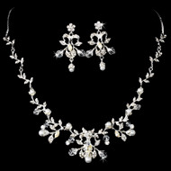 Regal Pearl and Rhinestone Vine Wedding Jewelry Set