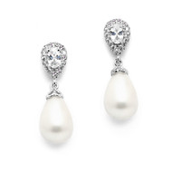 CZ and Soft Cream Pearl Drop Wedding Earrings in Pierced or Clip On