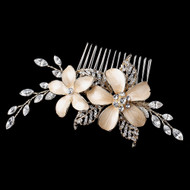 Light Gold Rhinestone Wedding Hair Comb with Champagne Flowers