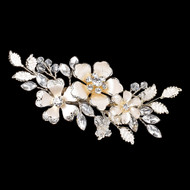Light Gold Rhinestone Wedding Hair Clip with Ivory Flowers