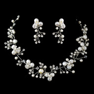 Pearl and Rhinestone Spray Wedding Jewelry Set ne9313