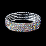 Silver 5 Row AB Rhinestone Stretch Bridal and Prom Bracelet