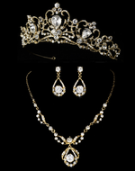 "Fairytale 2"" Gold Wedding Tiara and Matching Jewelry Set"