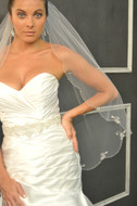 Beaded Fingertip Length Wedding Veil Elena Designs E1151S