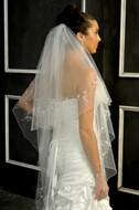 Two Layer Beaded Fingertip Wedding Veil Elena Designs E1148