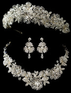 Magnificent Crystal Floral Wedding Tiara and Jewelry Set