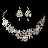 Magnificent Floral Rhinestone and Crystal Bridal Jewelry Set