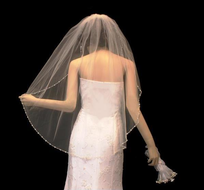 Pearl and Crystal Beaded Fingertip Length Wedding Veil V3072