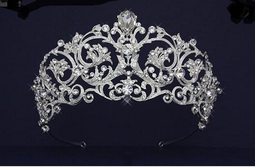 "Regal 2 1/2"" Tall Czech Rhinestone Scroll Wedding Tiara - Silver or Gold"