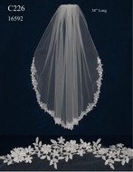 Ivory Venise Lace Edge Fingertip Length Wedding Veil C226