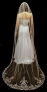 """Royal Length 120"""" Beaded Embroidery Cathedral Wedding Veil"""