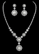 Vintage Inspired Pearl and CZ Crystal Bridal Jewelry Set