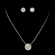 Silver Plated Rhinestone Pendant Bridesmaid and Prom Jewelry