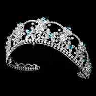 Aqua Blue Crystal and Rhinestone Quinceanera and Bridal Tiara