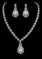Diamond White Pearl and CZ Drop Bridal Jewelry Set