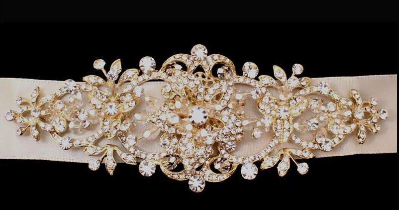 2d096877f8 Light Gold or Silver Rhinestone Wedding Dress Sash Belt