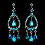 Turquoise AB Crystal Chandelier Wedding and Prom Earrings