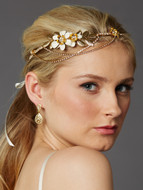 Gold Crystal Drape Floral Bridal Headband Crown
