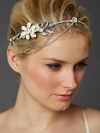 Silver Crystal Drape Floral Bridal Headband Crown