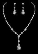 Vintage Look CZ Crystal Drop Bridal Jewelry Set - Silver or Rose Gold