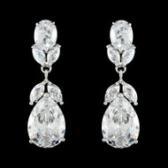 Cubic Zirconia Drop Wedding Earrings EEA206 - Pierced or Clip On
