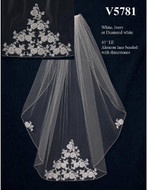 "45"" Custom Made Wedding Veil with Alencon Lace Appliques"