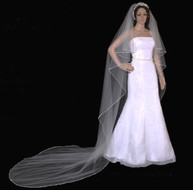 Rhinestone Edge Cascade Style Cathedral Length Wedding Veil