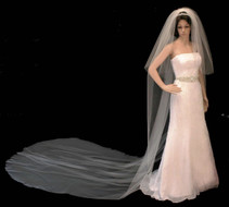 Extra Long Two Layer Cut Edge Regal Cathedral Length Wedding Veil