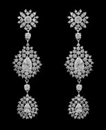 "Glamorous 3"" Cubic Zirconia Drop Wedding and Formal Earrings"