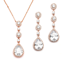 Rose Gold Cubic Zirconia Drop Wedding Jewelry Set ne400RG