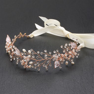Designer Rose Gold Bridal Vine Headband with Painted Leaves