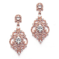 Rose Gold Victorian Scrolls CZ Wedding Earrings