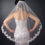 Scalloped Beaded Floral Lace Embroidery Fingertip Wedding Veil