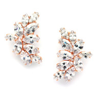 Rose Gold CZ Marquis Cluster Wedding Earrings in Pierced or Clip